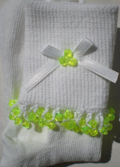 Lime Green Tri Beads-Embroidered Socks.