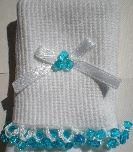 Aqua Blue Tri Beads- Emboidered Socks