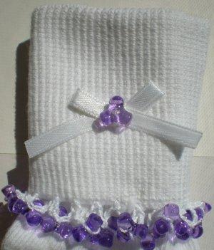 Violet Tri Beads-Embroidered Socks