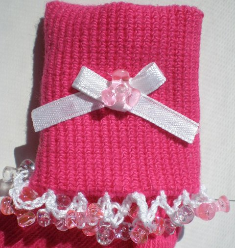Pink/Clear Tri Beads-Embroidered Socks