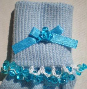 Aqua Blue Tri Beads-Embroidered Socks