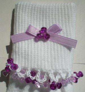 Light/Dark Purple Tri Beads-Embroidered Socks