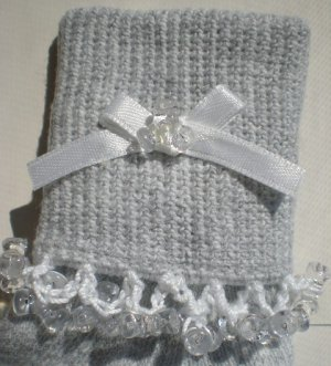 Clear Tri Beads-Embroidered Socks