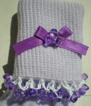 Purple Tri Beads-Embroidered Socks