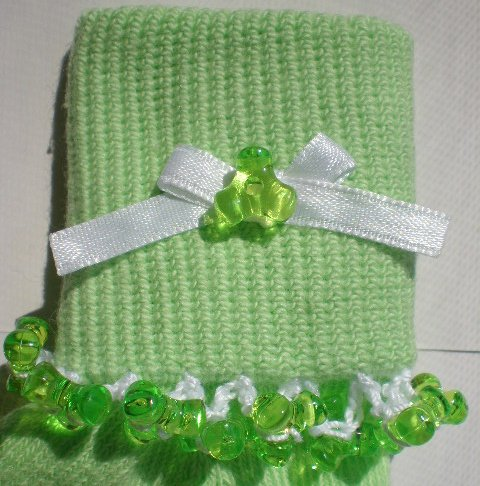 Lime Green Tri Beads-Embroidered Socks