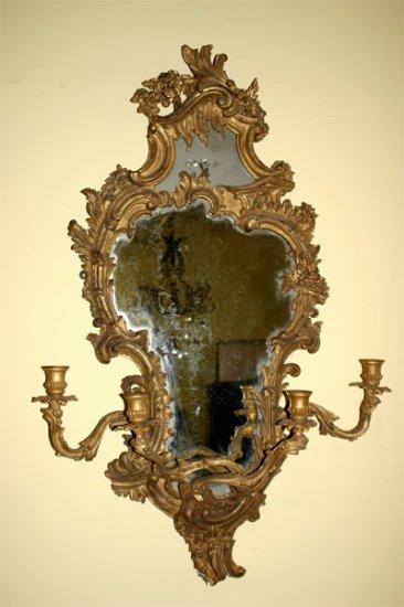 Pair of George III style gilt-wood girandoles
