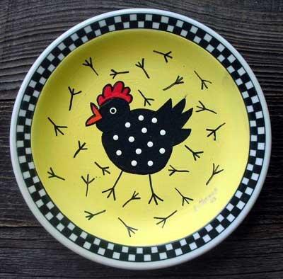 Hand Painted Cartoon Chicken Plate Decor