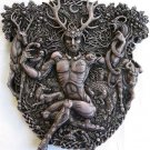 Celtic Horned God Cernunnos Stone Finish Wall Plaque