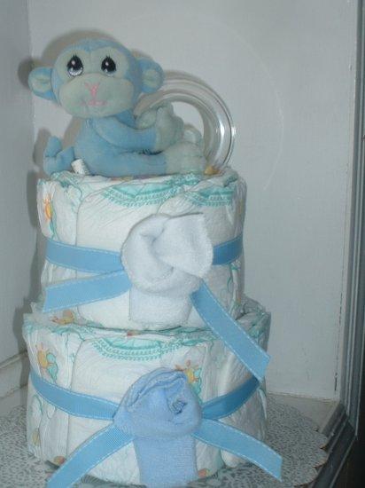 Blue Monkey 2 Tier Diaper Cake