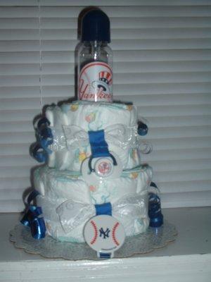 Yankees Fan 2 Tier Diaper Cake