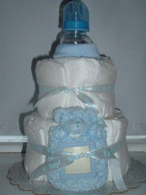 Baby blue 2 Tier Diaper Cake