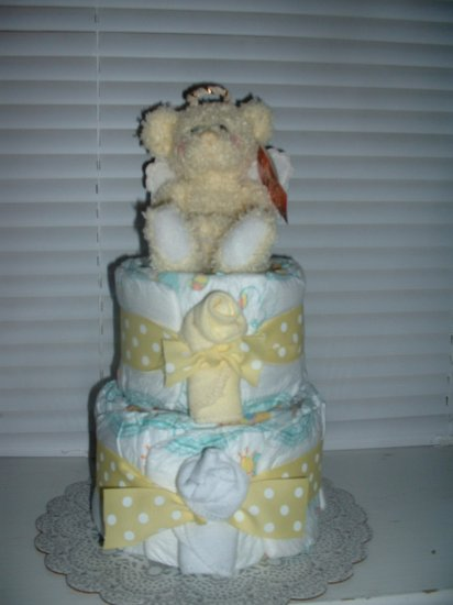 Angel Bear Yellow 2 Tier Diaper Cake