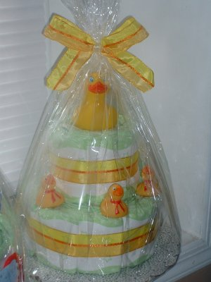 Yellow Rubber Duckies 2 Tier Diaper Cake