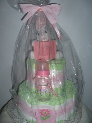 "Pink and White, ""It's a Girl"" 2 tier Diaper Cake"