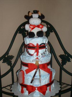 3 Tier Cow Diaper Cake