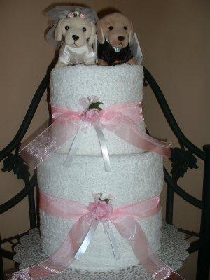 Puppy Love Bridal Towel Cake