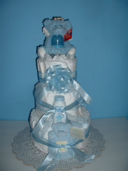 Diaper Cake-3 Tier Blue Angel