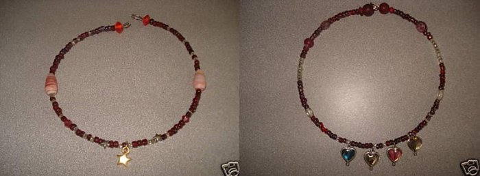 2 Vintage Retro Ruby Red Beaded Chokers