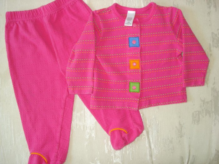 Free Shipping Fuschia Geometric Pajama Set 9mo
