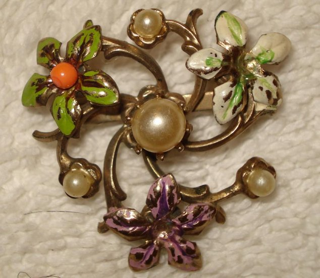 FREE SHIPPING Antique 1950s Colorful Flowers & Pearls Brooch