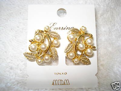 """FREE SHIPPING NEW MDM Tokyo Japan """"Gold & Pearl"""" Clip-on Earrings"""