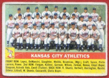 1956 Topps #236 Kansas City Athletics Team