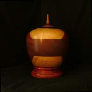 Hand Carved and Turned Mahogany and Padauk Cremation Urn