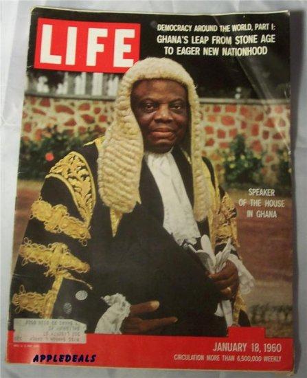 Life Magazine Jan 18 1960 Ghana LBJ Humphrey Eisenhower Nixon