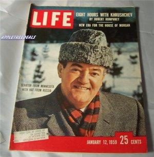 Life Magazine Jan 12 1959 Ktuschev Humphrey Castro Russia