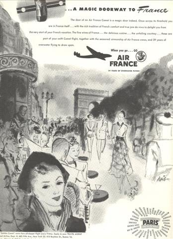 """1948-Air France Magazine Ad - Doorway to France 10.5 x 13"""""""