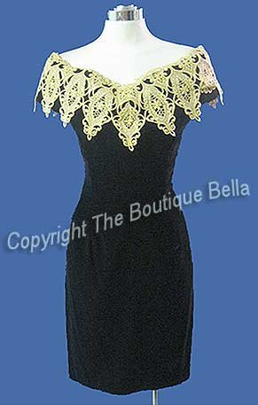Size 6 - Small Mcclintock Black Velvet Gold Lace Eve Cocktail Dress