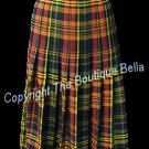 Size 8-med Classic Tartan Plaid Yellow Orange Long Skirt