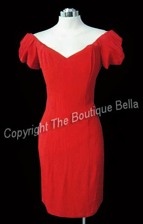 size 6 - Small Cocktail Off Shoulder Smoldering Red Dress