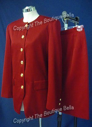 SIZE 7-8 - Rich Cranberry Red Classic Career Skirt-jacket Suit 8