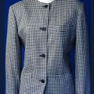 SIZE 6 - 8 SHORT Mini-Houndstooth career black white jacket