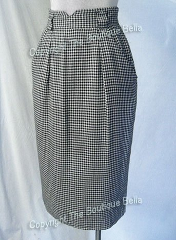 SIZE 2 - 4 - CURVY Black-white long career skirt