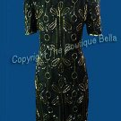SIZE 6 - MED  COCKTAIL Black Gold Beaded Formal Dress