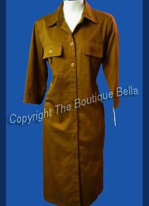 SIZE 8 - MED - New Harve Bernard yellow Brown Coat Dress