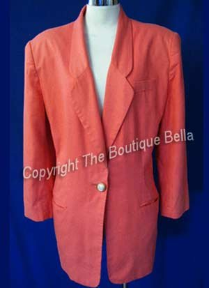 SIZE 10 -12 PETITE Summer Salmon Coral Career Jacket Blazer