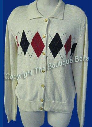SIZE MED-LRG 12 LIZSPORT Preppy Diamonds Cardigan Sweater