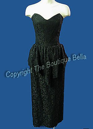 Size 4-6 Small Vintage Party Lacy Black Strapless Peplum Dress