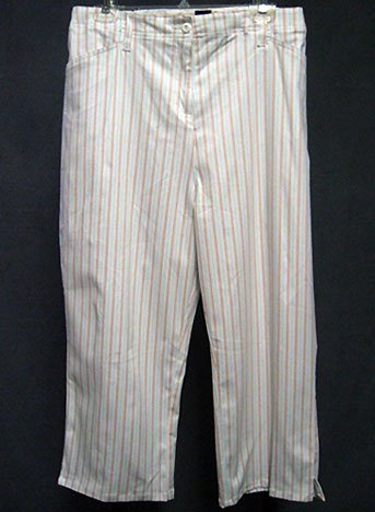 Size 22W - SPRING SUMMER vertical stripes white cropped pants