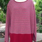 Size 1X: Red Stripped Cozy comfortable top sweater