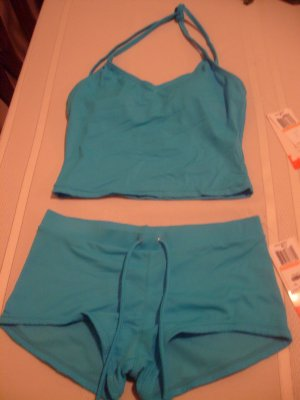 Small Hula Honey Blue Tankini 2-piece Bathing Suit