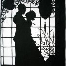 Silhouette Scherenschnitte (Paper Cut/Papercut) - Romance - Couple Hugging by the Window (RM0008)