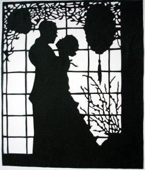 Silhouette Scherenschnitte (Paper Cut/Papercut) - Romance - Couple Hugging by the Window (RM0008)