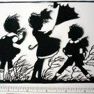Silhouette Scherenschnitte (Paper Cut/Papercut) - Children, Wind Blowing (CH0007)