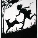 Silhouette Scherenschnitte (Paper Cut/Papercut) - Boy Running With His Dog (CH0002)