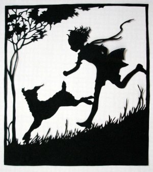 Silhouette Scherenschnitte (Paper Cut/Papercut) - Boy Running With His Dog (CH0002)