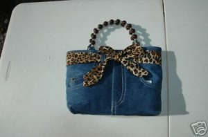 Denim Blue Jean Purse, Booty Bag Leopard print